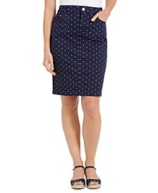 Petite Polka-Dot Denim Skirt, Created for Macy's