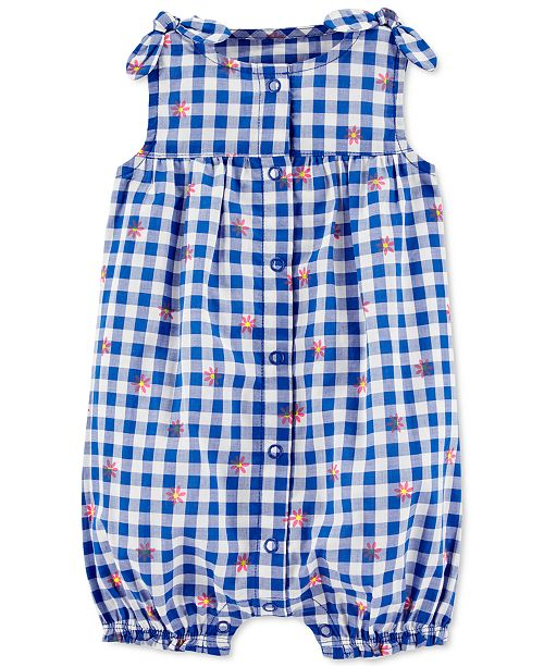 Carter's Baby Girls Gingham-Print Cotton Bubble Romper