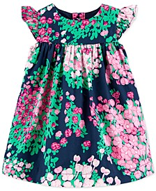 Baby Girls Floral-Print Sateen Dress