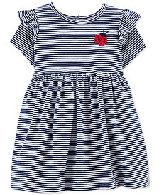 Baby Girls Cotton Striped Ladybug Dress