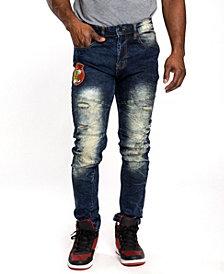 Southpole Men's Tiger Applique Patch Skinny Fit Jeans