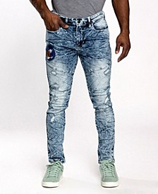 Men's Tiger Applique Patch Skinny Fit Jeans