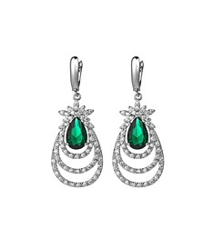 Silver-Tone Emerald Accent Layered Earrings