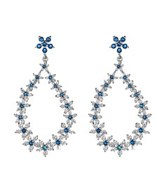 Silver-Tone Sapphire Accent Oval Hoop Earrings