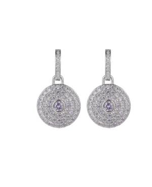 A & M Silver-Tone Lavender Disk Earrings