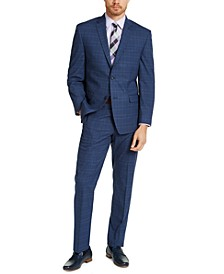 Men's Slim-Fit Blue Plaid Suit