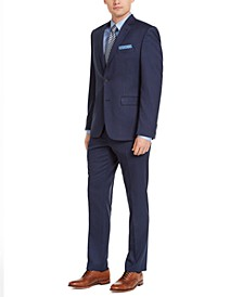 Men's Slim-Fit Stretch Blue Pinstripe Suit