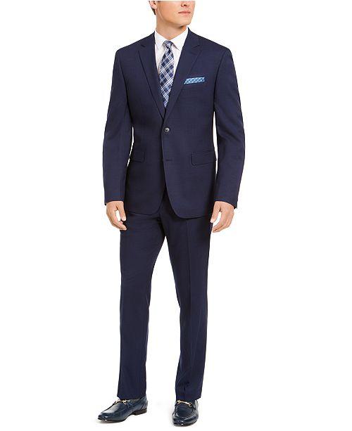 Perry Ellis Men's Slim-Fit Stretch Navy Blue Plaid Suit