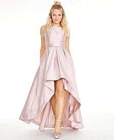 Juniors' Satin Twill High-Low Fit & Flare Dress, Created for Macy's
