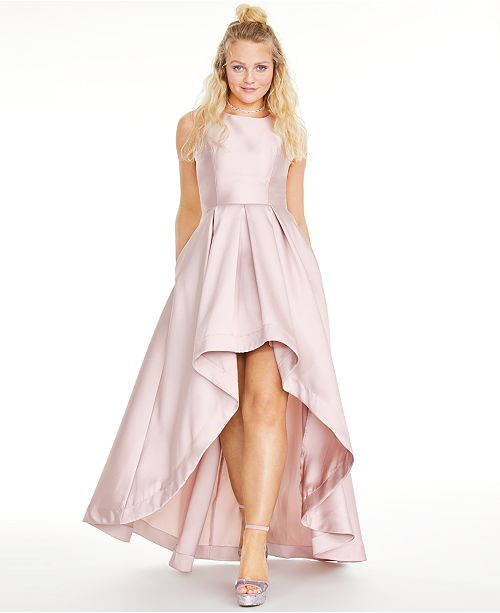 Speechless Juniors' Satin Twill High-Low Fit & Flare Dress, Created for Macy's