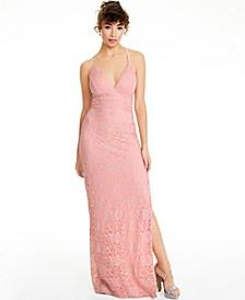 Juniors' Pink-Lace Racerback Gown