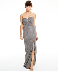 Juniors' Metallic Strapless Corset Gown