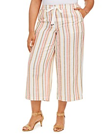 Plus Size Striped Cotton Cropped Pants, Created for Macy's