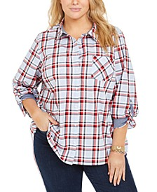 Plus Size Cotton Plaid Shirt