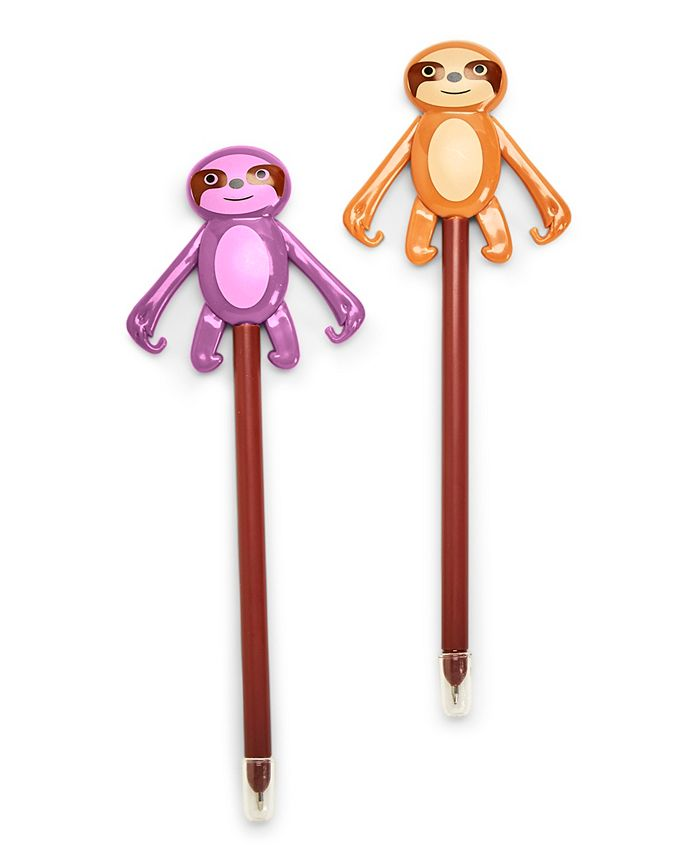 Celebrate Shop - Refill for Slotherin' Around 36 Pc Sloth Push Pen Un Includes 2 Colors: Purple and Light Brown non-refillable - Plastic