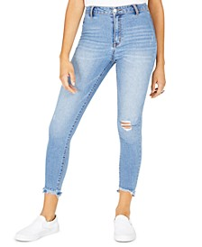Juniors' Ripped Released-Hem Skinny Jeans