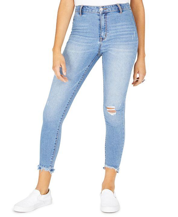 Tinseltown Juniors' Ripped Released-Hem Skinny Jeans