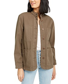 Cotton Stand-Collar Utility Jacket