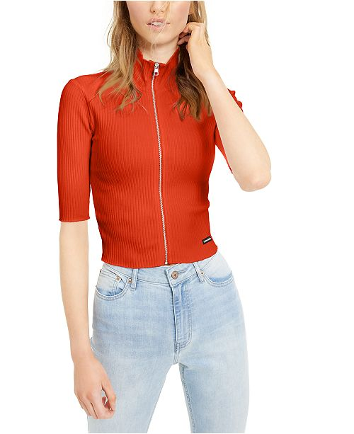 Calvin Klein Jeans Zip-Front Mock-Neck Top