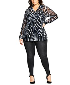 Trendy Plus Size Pine Leopard Shirt