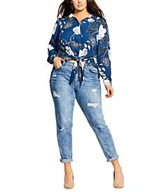 Trendy Plus Size Sapphire Bloom Tie-Front Top
