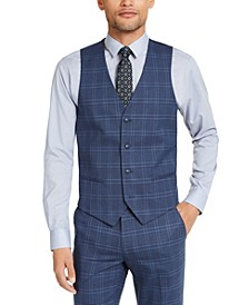 Men's Slim-Fit Stretch Navy Blue Plaid Suit Vest, Created for Macy's