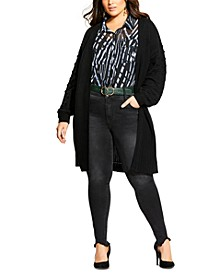 Trendy Plus Size Bubble-Sleeve Cardigan
