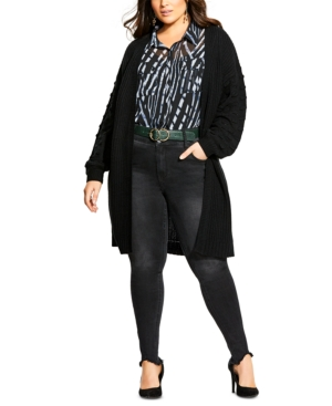 City Chic  TRENDY PLUS SIZE BUBBLE-SLEEVE CARDIGAN