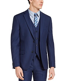 Men's Slim-Fit Stretch Blue Solid Suit Jacket, Created For Macy's