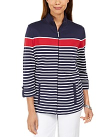 Printed Mock-Neck Jacket, Created for Macy's