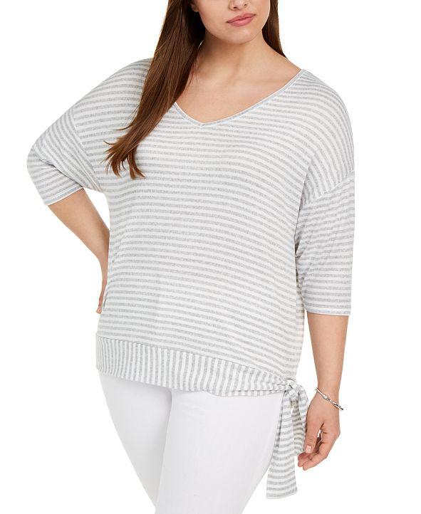 Belldini Plus Size Side-Tie V-Neck Sweater