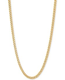 "Miami Cuban Link 22"" Chain Necklace (3mm Hollow) in 14k Gold"