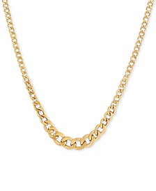 "17"" Graduated Curb Chain Necklace in 10k Gold"