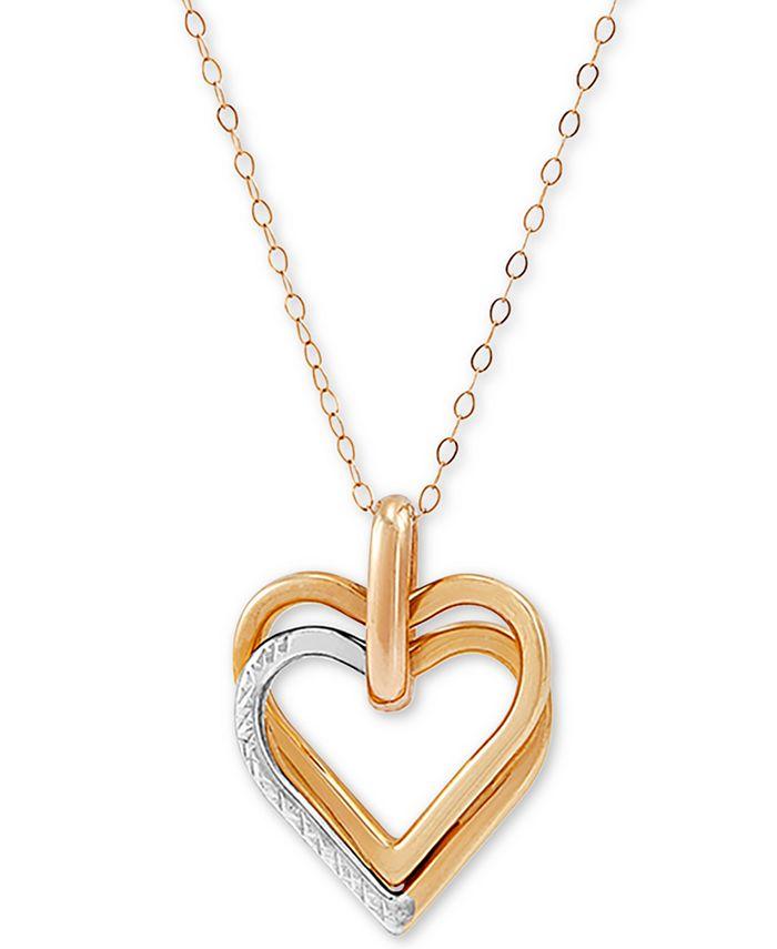 "Macy's - Interlocking Two-Tone Heart 18"" Pendant Necklace in 10k Gold"