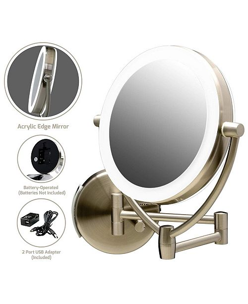 "OVENTE 9.5"" Wall Mount LED Lighted Makeup Mirror"