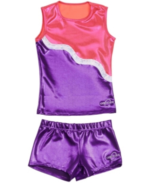 Obersee Kids' Big Girls Tank And Shorts Set In Purple