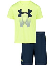 Little Boys 2-Pc. Logo-Print T-Shirt & Side-Stripe Shorts Set