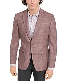 Men's Slim-Fit Pink Windowpane Plaid Sport Coat, Created for Macy's