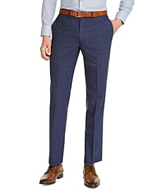 Men's Slim-Fit Stretch Navy Blue/Blue Stripe Suit Pants