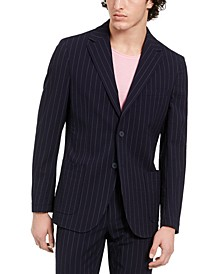 Men's Slim-Fit Stretch Navy Blue Seersucker Stripe Suit Jacket