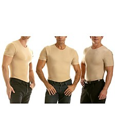Insta Slim Men's 3 Pack Compression Short Sleeve Crew-Neck T-Shirts