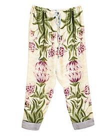 Botanical Pajama Pants with Drawstring Closure
