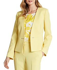 Snap-Front Collarless Twill Blazer