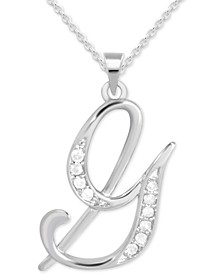 "Diamond G Initial 18"" Pendant Necklace (1/10 ct. t.w.) in Sterling Silver"