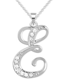 "Diamond E Initial 18"" Pendant Necklace (1/10 ct. t.w.) in Sterling Silver"
