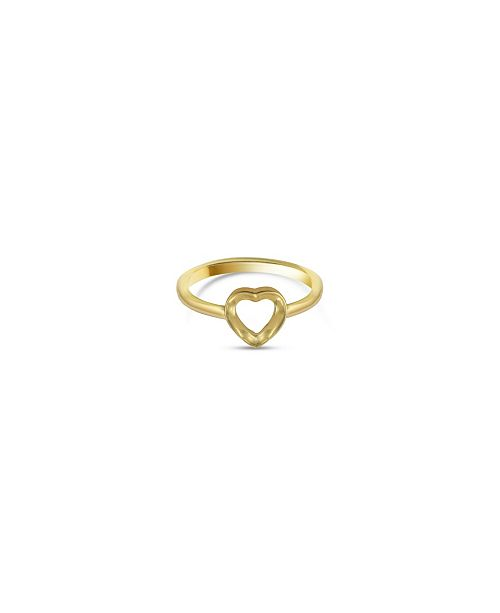 Argento Vivo Open Heart Ring in 18K Yellow Gold over Sterling Silver or Sterling Silver