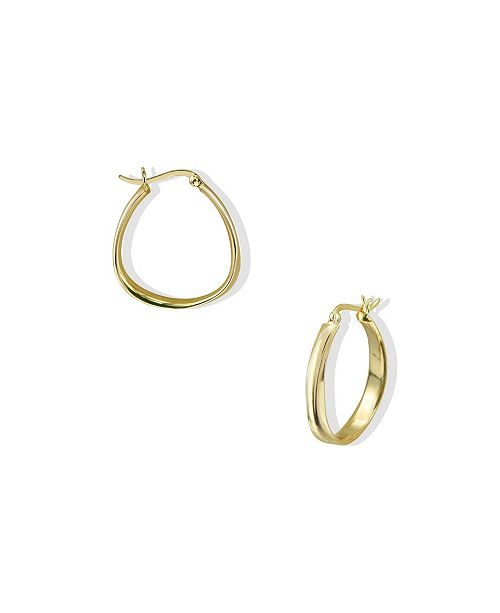 Argento Vivo Oblong Contour Hoops in 18k Yellow Gold over Sterling Silver