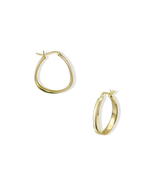 Oblong Contour Hoops in 18k Yellow Gold over Sterling Silver