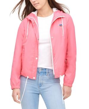 70s Jackets, Furs, Vests, Ponchos Levis Womens Retro Hooded Windbreaker $49.99 AT vintagedancer.com