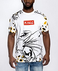 Men's Leopard Chenille Logo Patch All Over Graphic T-shirt
